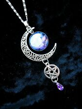 BLUE MOON Pentacle COLLANA pagane WICCA FANTASY ARGENTO CIONDOLO GOTICO Magic Star