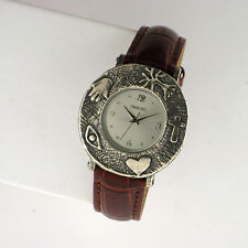 Shablool Isreal 925 Sterling Silver Case Leather Band Watch Quartz 33MM Analog