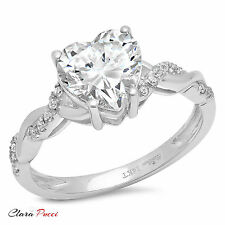 2.14CT Heart Diamond Simulant Twisted Solitaire Bridal Ring Band 14k White gold