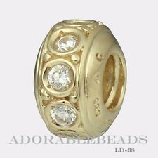 Authentic Chamilia 14Kt Gold Frosted Gold Clear CZ Bead  LD-38  *RETIRED*