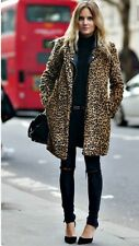 ZARA AW16 Animal de la impresión del Faux fur abrigo largo Talla XL UK 14 Genuino Zara