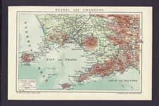 Neapel und Umgebung, alte Stad- / Landkarte mit Jahreszahl 1912