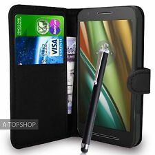 Black Wallet Case PU Leather Book Cover For Motorola Moto E3 (2016) Mobile