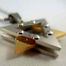 Gold Two-Tone Star of David Pendant