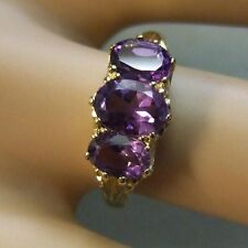 9 ct GOLD second hand three stone amethyst ring