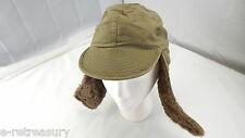 VINTAGE KOREAN WAR CAP FIELD PILE M-1951 80% WOOL ALPAC HAT LACE EAR FLAPS 6 1/2