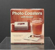 """Vintage Photo Coasters With Holder Holds 2x2 Picture Original Box 4 1/2"""" W26"""
