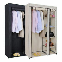 Solid Double Clothes Rack Shelves Canvas Fabric Wardrobe Rail Clothes Storage UK