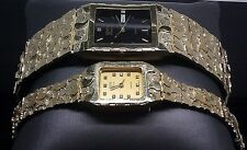 Designer His And Her's 10K Yellow Gold Nugget Couple watches Set  Approx 90 Gm
