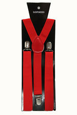 Red Adjustable Braces Suspenders Mens Women Fancy Dress Clip On Slim 2.5