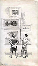 ORIGINAL ca 1886 MAGAZINE ILLUSTRATION  INK DRAWING ON REYNOLD'S BRISTOL BOARD