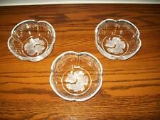 Clear Glass w/Frosted Etched Design Fruit/Salad Bowls (Set of 3)