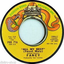 "7"" FANCY All My Best (Sweet Mary) 45rpm POISON RING Promo Rock orig. USA 1970"