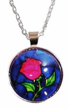"Disney's Beauty and the Beast ROSE Glass Dome PENDANT on 20"" Chain"