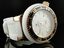 NEW AQUA MASTER JOE RODEO SWISS MOV ROSE FINISH WHITE RUBBER BAND WATCH