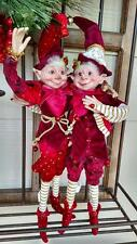 "Set 2 NWT 17"" RAZ Santa ELF Elves Poseable Figurine CHRISTMAS Shelf Sitter Orn"