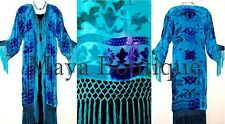 Silk Burnout Velvet Fringes Jacket Kimono Turquoise Blues Tye Dyed Maya Matazaro