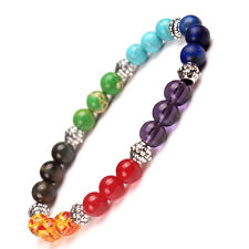 Colorful stone beads Yoga Healing 7 Chakra Gemstone Charm Stretch Bracelet