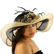 Summer Kentucky Derby Wide Brim Layer Floppy Flower Feathers Hat Beige Black