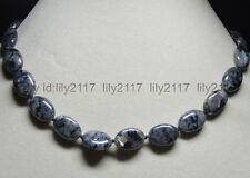 """Natural 13x18mm Oval Black Gray Labradorite Gems Beads Jewelry Necklaces 18""""AA"""