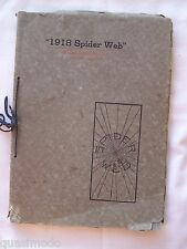 1918 MACOMB HIGH SCHOOL YEAR BOOK MACOMB, ILLINOIS THE SPIDERS WEB - UNMARKED!