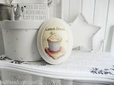 oval gewölbt Cupcake Lemon Cake Wandbild Bild shabby chic French altweiß 536