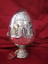 NICOLE MILLER SILVER MERCURY GLASS ETCHED JEWELED EASTER EGG ON STAND DECOR XL