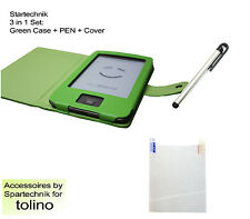Tasche Stift & Folie f Tolino Shine Sparset: Case Pen & Displayfolie grün green
