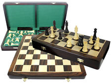 """Rosewood Folding Chess Board 20"""" + Imperial Staunton 4"""" Chess Pieces + Extra Qns"""