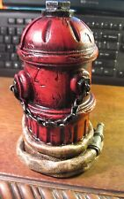 VINTAGE STYLE FIRE HYDRANT HOSE BANK RESIN FIGURINE FIREMAN FIREFIGHTER DESK SEE