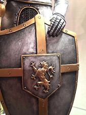 Medieval Armor Warrior Knight Statue Figurine Lion Crest on Shield Silver NEW