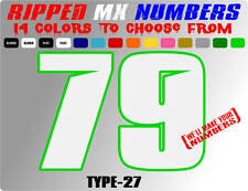 RIPPED 2 COLOR MX NUMBER PLATE RACING DECALS MOTORCROSS STICKERS REMOTE CONTROL
