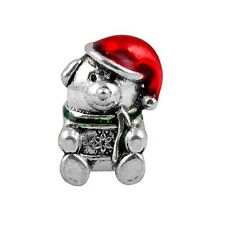 Christmas Bear Silver Plated Red Enamel Spacer Charm Bead European Bracelets