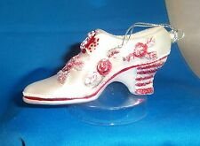 Old Fashioned Shoe White Red Floral Glass Handcrafted Holiday Ornament NEW
