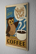 Tin Sign Restaurant Kitchens Decoration Owl coffee cup Wall Metal Plate