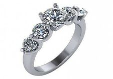 2.21 ct I VS2 round diamond 5 stone engagament anniversary ring 18k white gold
