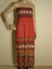 ANGIE Strapless Maxi Dress XL Boho Hippie Red Paisley Rayon Beach Party Smocked