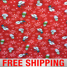 """Fleece Fabric Christmas Snowman 60"""" Wide Free Shipping Style PT 622"""