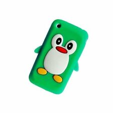 GREEN Apple iPhone 3 / 3G / 3GS Penguin Silicone Case Cover