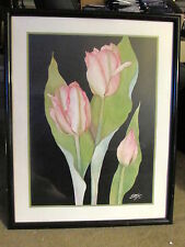Pink Flowers Tulips 23x30 Matted and Framed Poster-Print