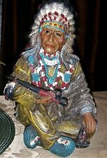 VINTAGE COLLECTIBLE SITTING INDIAN CHIEF w/ PIPE DECORATIVE RESIN FIGURE STATUE