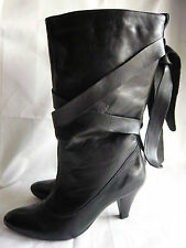 MONSOON BLACK LEATHER PULL ON BOOTS WITH TIE DETAIL IN VERY GOOD CONDITION