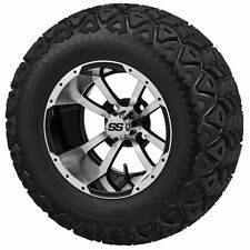 Set of 4 - 22x11.00-10 Tire on a 10x7 Machine/Black Type 7 Wheel w/FREE freight