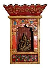 TIBETAN HAND PAINTED WOODEN SHRINE NEPAL BUDDHA SHRINE W/ TARA STATUE N2