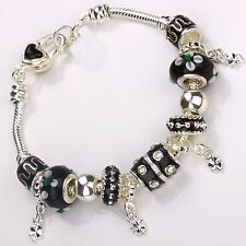 hot sale  European Murano Glass Beads solid Silver black Charm Bracelet XB013