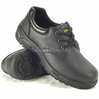 """""""WORKFORCE""""..Steel Toe Cap Black Leather Safety Shoes. Size 3 - 14. GS2-P"""