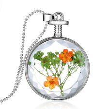 Beautiful Dried Flower Clear Glass Locket Pendant Necklace with Silver Chain