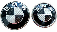 SET 82+74 CARBON BLACK BMW Bonnet Front+Boot Emblem, E30 E36 E46 3 5 7 Series