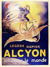 Alcyon Sillonne Le Monde Motorcycles Bicycles 1910 Poster  13 x 17 Giclee Print