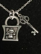 "Skull Lock & Skeleton Key Goth Charm Tibetan Silver with 18"" Necklace"